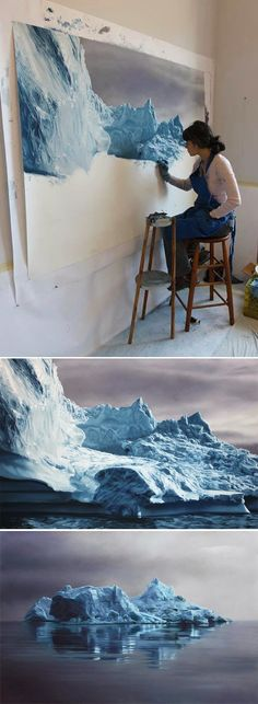 "At Work: American hyperrealism artist Zaria Forman working with soft pastels on paper to create a landscape for her ""Greenland 2012: Chasing the Light"" series. (http://www.zariaforman.com/)"