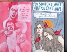 Art journal 6 pages 13-14 by PattyDrawsDandelions, via Flickr