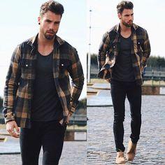 Casual shirt men plaid style