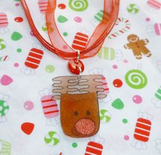 Rudolf the red nose reindeer necklace by NiNEFRUiTSPiE on Etsy, £2.50