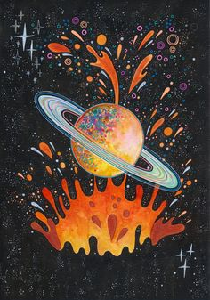 Breakthrough Sticker by Asja Boros - White - Planet Painting, Planet Drawing, Hippie Wallpaper, Psy Art, Hippie Art, Psychedelic Art, Art Plastique, Pattern Wallpaper, Art Inspo