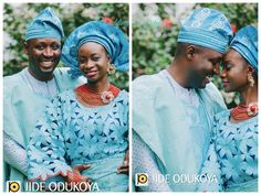 Yoruba Wedding Couple in blue lace and aso oke attire. Love this photo by Jide Odukoya. Check out Wedding Feferity (www.weddingfeferity.com) for more yoruba traditional wedding attire inspiration in many colour combinations