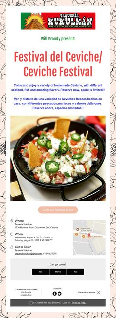 Will Proudly present: Festival del Ceviche/ Ceviche Festival Ceviche, Fresco, Beef, Events, Food, Home Made, Seafood, Meat, Happenings