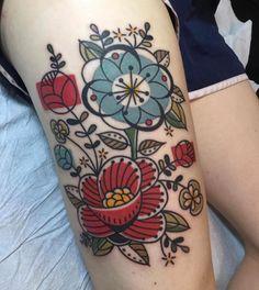 Mid-Century Modern Barkcloth Floral Tattoo by Jen Trok at Speakeasy Custom Tatto. - Mid-Century Modern Barkcloth Floral Tattoo by Jen Trok at Speakeasy Custom Tattoo, Chicago IL – I - Pretty Tattoos, Love Tattoos, Beautiful Tattoos, Body Art Tattoos, New Tattoos, Styles Of Tattoos, Arabic Tattoos, Tattoos Skull, Sweet Tattoos