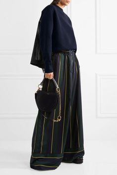 Sacai - Lace-trimmed Cotton-blend Jersey And Laser-cut Poplin Sweatshirt - Navy - 2