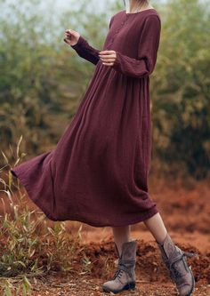 BUYKUD-Cotton linen loose fitting maxi dress long sleeve - Buykud -