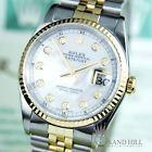 PAPERS Rolex DateJust 16233 18K White MOP Diamond Dial Sapphire 36mm Mens #1458