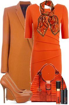 """""""Orange Dress"""" by denise-schmeltzer ❤ liked on Polyvore"""