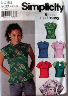 Mandarin Collar Blouse Sewing Pattern, Simplicity 5098, Ladies Sizes 6, 8, 10 and 12, Uncut, 6 Mandarin Tops Made easy, 5098 Simplicity by OnceUponAnHeirloom on Etsy