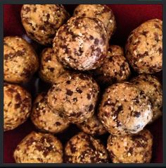 This might be my new favorite afternoon snack..... ~Herbalife~Protein Peanut Butter Balls~ 1 cup whole oats 3 tbls reduced fat peanut butter (I used almond butter) 2 scoop vanilla/ choc./or cookies n cream Herbalife Healthy Meal 1 tbls honey I added dark chocolate chips for a twist Run through a food processor and form into balls Makes roughly 12 protein packed balls at around 35 calories each Herbalife shakes Herbalife Herbalife24 Herbalifers Herbalifer