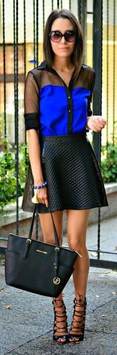 Sheinside Electric Blue And Black Ruffle Chiffon Contrast Organza Button Down by J'adore Fashion