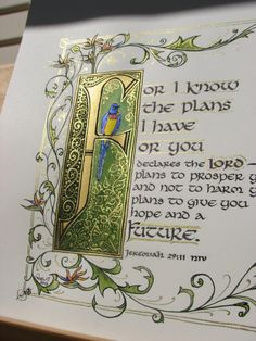 """Illuminated Calligraphy Made To Order - Commission Sample """"I Know The Plans I…"""