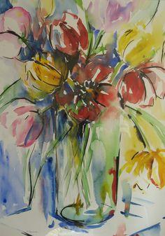 tulpen, aquarel/inkt