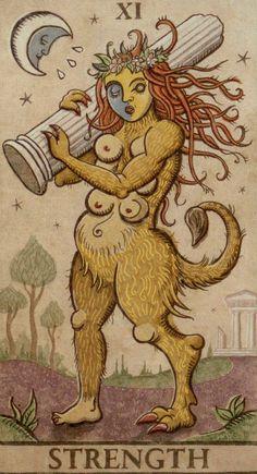 8 - Strength - luna paradoxical tarot #jomanzo #ccccc #youtube #youtubeitalia #tarocchi #zodiaco #tarot #zodiac Medieval Drawings, Medieval Art, Strength Tarot, Le Tarot, Statue Tattoo, Tarot Astrology, Etching Prints, Tarot Major Arcana, Oracle Cards