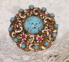 VTG Signed West Germany Rhinestone Enamel Ornate от shopjewelry247