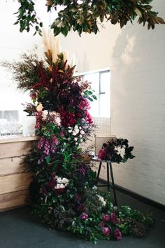 Untamed Floral Installations / Cascading Blooms / Burgundy Blooms / Wedding Styling Inspiration / The Style Co / The LANE