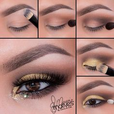 Gold and brown eye makeup #tutorial #maquiagem #ouro #evatornadoblog Коричнево-золотой макияж