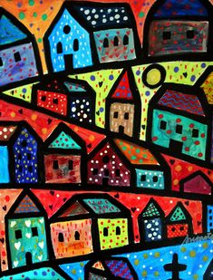 Folk Art Painting Abstract Modern House City Village Mexican Original Painting COA.