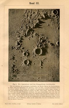 vintage astronomy lithograph, craters on the Moon, printed in Leipzig, Germany, in 1889