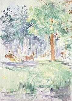 Carriage in the Bois de Boulogne, Berthe Morisot    Size: 28.9x20.7 cm  Medium: watercolor