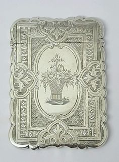Victorian antique solid silver card case, Birmingham, 1874