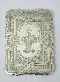Victorian antique solid silver card case, Birmingham, 1874