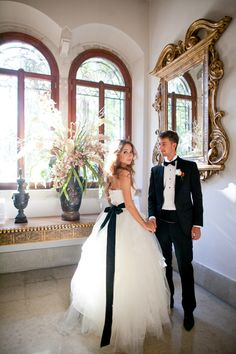 Bride and Groom in Venice, Italy - LOVE bowtie and black belt on the white dress.