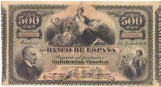 Billetes antiguos españoles- 1876- 500 pesetas, anverso