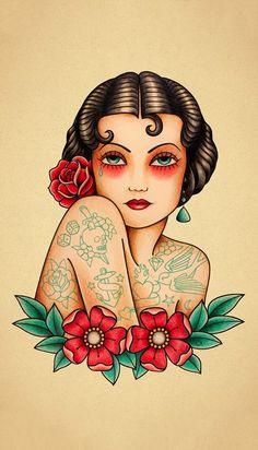 Old School Tattoo (by Crixtina) #skull #calavera #tatuaje #tattoo #oldschool Pinup Tattoos, Model Tattoos, Tattoos Motive, Body Art Tattoos, Sleeve Tattoos, Tattos, Traditional Tattoo Woman, Traditional Tattoo Design, Traditional Tattoo Old School