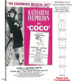 "Coco 1969 Famous Broadway Musical Production Show Canvas Wrap 18"" x 30"""