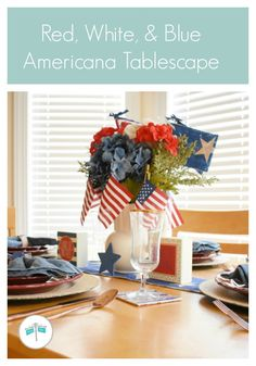 Red White and Blue Americana Tablescape for the of July Patriotic Crafts, July Crafts, Holiday Themes, Holiday Crafts, Breakfast Nook Table, Cool Coasters, Red Plates, Craft Stash, 4th Of July Decorations