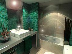 Baño, estilo Moderno color Verde, Beige, Blanco,