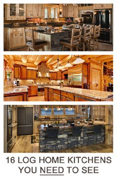 I love log houses. I make no secret of the fact that I plan for my next house to be one. I've been surfing the web for years making notes on awesome layouts, designs and decor for log cabin houses. Since I love to cook, the kitchen has always been one of the most important rooms in a house to me. And I wanted to share some of the most awesome ones with you below.I scoured the web to find the actual sources and designers of the below. I hate when I find a picture on the web and can't...