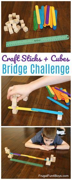 Bridge Building STEM Challenge:  Build the longest possible bridge with craft sticks and wooden cubes.