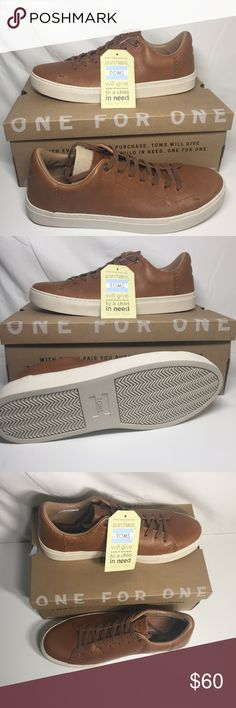 TOMS Leather Lenox Sneakers Dark Toffee Men's 10.5 TOMS Leather Lenox Sneakers Dark Toffee, Men's Size 10.5  Brand new Lenox Sneakers size 9.5 from TOMS in dark toffee. Retailing for $85.   Padded collar for comfort --- Deco-stitch detail --- Removable insole --- Cushioned dual-density footbed --- Rubber outsole for traction  Authenticity Guaranteed! Toms Shoes Sneakers