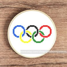 Counted cross stitch pattern PDF - Modern - Olympic symbols - Olympic flag