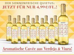 Quietus Verdejo + Viura 2016 - 12er für nur 59,90€ statt 95,40€ mit 37% Rabatt!  Sonnige Weißwein-Cuvée für Genießer!   Heute trifft aromatische Frucht auf lebhafte Frische: Quietus Verdejo + Viura für nur 4,99 € statt 7,95 €/Fl.   #Birne #gelber Apfel #Passionsfrucht (Maracuja) #Quietus Verdejo #Sommer #Sommerwein #Verdejo #Viura