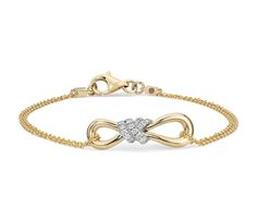 Brilliant and meaningful, this infinity bracelet features round diamonds pavé-set in 14k white and yellow gold.