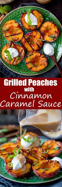These CINNAMON GRILLED PEACHES with cinnamon CARAMEL SAUCE make a tasty, simple dessert. Ready in less than 15 minutes too!