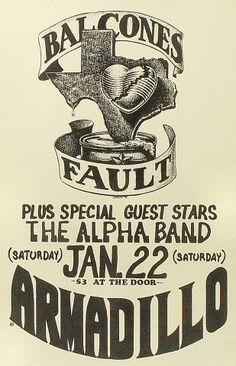 Balcones Fault Poster - Rock posters, concert posters, and vintage posters from the Fillmore, Fillmore East, Winterland, Grande Ballroom, Armadillo World Headquarters, The Ark, The Bank, Kaleidoscope Club, Shrine Auditorium and Avalon Ballroom.