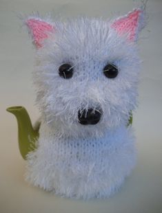 The Westie Tea Cosy is the latest Tea Cosy with Character from Tea Cosy Folk - the pattern is available here https://www.etsy.com/uk/listing/214356676/westie-tea-cosy-knitting-pattern?ref=shop_home_active_1