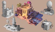 Star Wars Concept Art, Fantasy Concept Art, Egypt Concept Art, Village Drawing, Sand House, Fantasy Village, Fantasy House, Isometric Art, Environment Concept Art