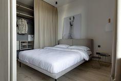 Lama Beige Apartment by Sobo Studio Urban Apartment, Composition Design, Behance, Studio Interior, Blue Tiles, Home Comforts, Cozy Bedroom, Design Consultant, Wooden Doors