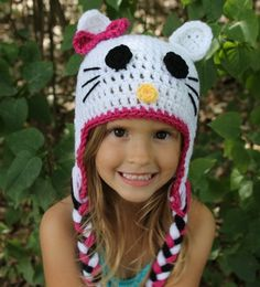 Crochet hello kitty hat made to order by Littleonescrochet on Etsy, $20.00