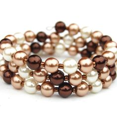 Chocolate Brown Gold and Ivory Pearl Memory Wire by AMIdesigns, $16.00