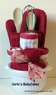 Red Kitchen Towel Cake Housewarming Gift by MsCarlasBabyCakes, $45.00