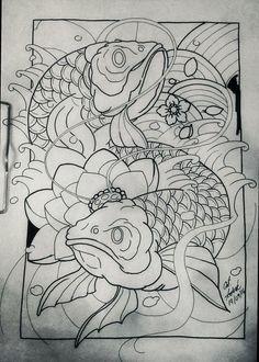 Symbol Tattoos, Body Art Tattoos, Sleeve Tattoos, Japanese Tattoo Designs, Japanese Tattoo Art, Japanese Art, Koi Art, Fish Art, Tattoo Sketches
