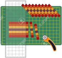 Patchwork: How to Do it Yourself. Tagliare strisce di tessuto cucite, riorganizzare in schemi e disegni con righello trasparente, taglierina lama rotante sul tappeto di taglio, per le arti, artigianato, cucito, quilt, applique, progetti fai da te.
