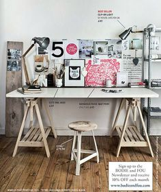 Loving the organized clutter look of this workspace!