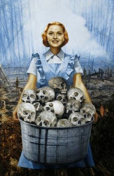 Fred Einaudi, Patriot  Einaudi's portraits take the iconic can-do attitude of women in wartime propaganda posters, and juxtaposes it with unexpected images of death and destruction.